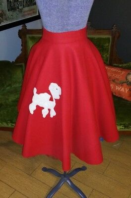 Vintage 1950's Handmade Red Poodle Wool Circle Skirt With Petticoat Sm