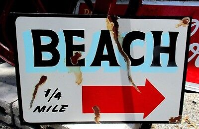 PAINTED  Rustic TO BEACH Directional Arrow Hand Painted Metal Ocean Trail Sign