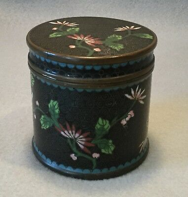 c.1920s-30s Deco Chinese Export Black Enamel Cloisonne Tobacco or Tea Canister