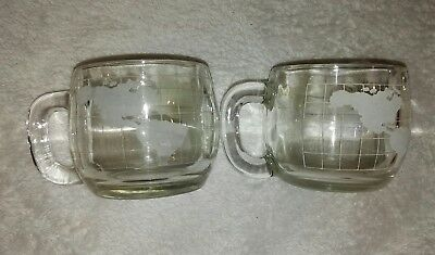 """2 Nestle World Map Globe Heavy Clear Glass Cups Coffee Tea Mugs 3"""" Etched Cocoa"""