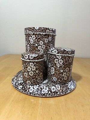 Crownford Calico Brown Canister Coffee Tea Tray Plate 7 piece Jar Lid Cake Plate