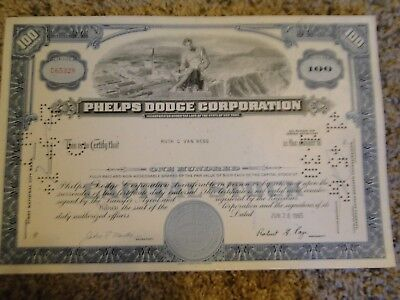 Phelps Dodge Corporation Stock Certificate-100 Shares