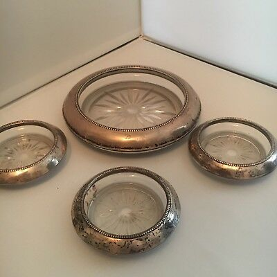 Antique Frank Whiting Sterling Silver Glass Coaster set
