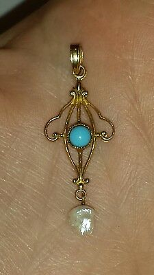 Antique Victorian Era Turquoise, Dog Tooth Pearl & 10k Gold Lavalier Pendant~1G
