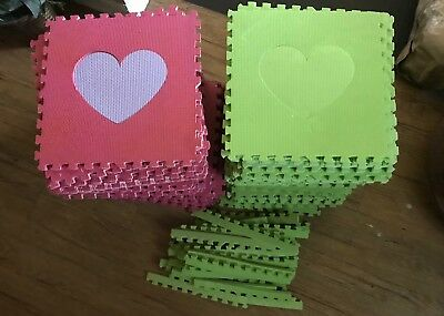 Soft Foam Playmat 100 Pieces (100 sq ft.) with 31 Ends Hearts Pink/Purple/Green