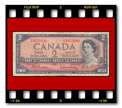 BANK OF CANADA P-76b Modified Hair Style Issue TWO 2 DOLLARS 1954 BANKNOTE