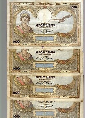 YUGOSLAVIA LOT:  FOUR  (4)  x  1000 DINAR  (1931)