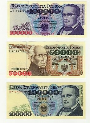 Poland Lot:  Three (3) Notes  (1990 - 1993)   All Uncirculated
