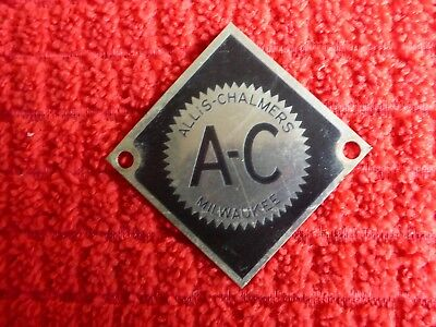 Vintage Used A-C Milwaukee WIS ALLIS CHALMERS Metal Aluminum Tool Tag 1 5/8""