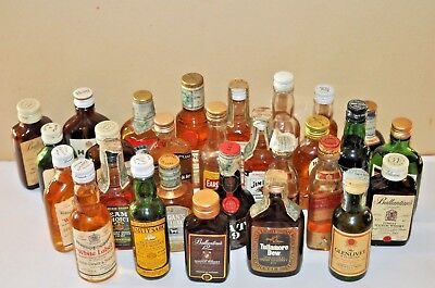 28 mignon miniature minibottles scotch whisky, straight bourbon, irish whisky ec