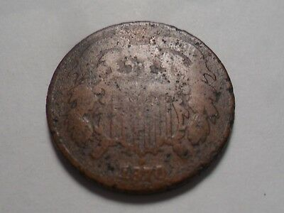 "1870  Nice ""rare Date"" Two Cent Copper Very Low Mintage 861,250!!"