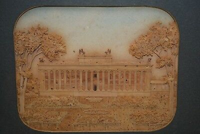 MAGNIFICENT 19th Century Carved Cork Picture with Parthanon Type  Gilt Frame NR