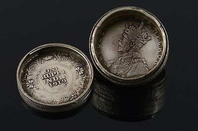 Silver 1916 Indian Rupee Hidden Secret Compartment Stacked Coins