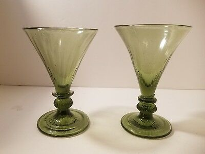 Pair Blown Early American Style Stemware Glasses