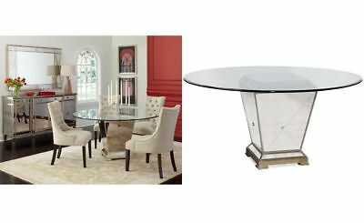 """MSRP $999 Macy's Marais Mirrored Glass Top Dining 60"""" Table"""