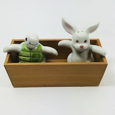 Fitz & Floyd Vintage Salt & Pepper Shaker Tortoise & the Hare Hand Painted Japan
