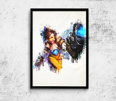 """Tracer Overwatch Poster Game Print 33x47"""" Video Gamer Room Decor Wall Art Gift"""