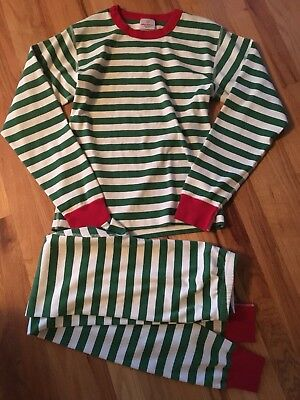 Hanna Andersson Adult Merry Stripe Green Long John's Pajamas Size S Small