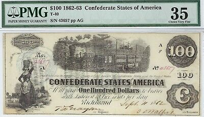 T-40 PF-2 $100 Confederate Paper Money - 1862  - PMG Choice Very Fine 35!!