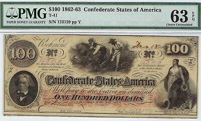 T-41 PF-26 $100 Confederate Paper Money 1862 - PMG Choice Uncirculated 63 EPQ!