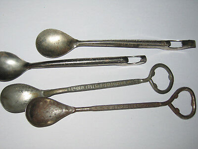 4 Vintage advertising bottle opener spoons MA and RI