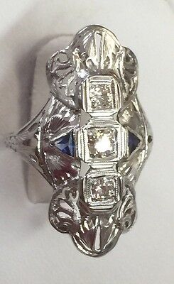 ANTIQUE 14K WHITE GOLD FILIGREE ART-DECO LADIES RING WITH DIAMONDs AND SAPPHIRES