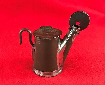 V.L. Smokeless Oilwick Cap Lamp, Patd. 1909 - Unusual wick tube, Miners, Mining