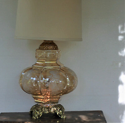 Rare Mid Century Modern Tube Table Lamp Exotic Oriental Chinese