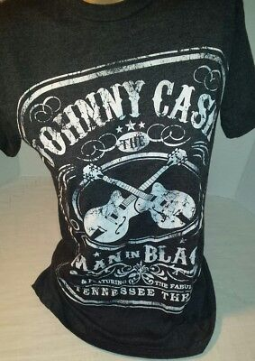 Johnny Cash S T-Shirt Short Sleeve Round Neck Black White Graphics Man In Black