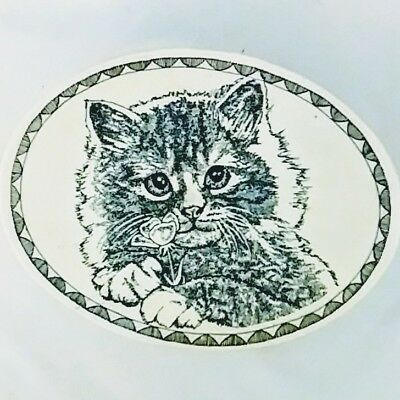 Embossed Kitty cat trinket box jewelry ring keepsakes oval ivory rustic gift
