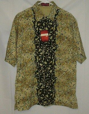 Karunia Traditional Wears Mens Size Large Tan and Black Floral Pattern Shirt NWT