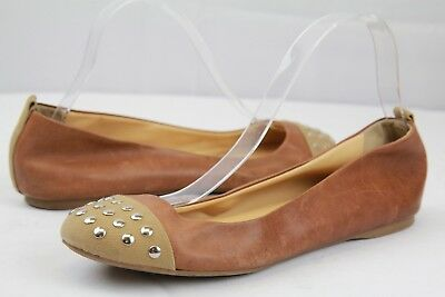 6f33a2787 J.Crew Brown Leather Studded Toe Ballet Flats Shoes Made in Italy Size 9 M