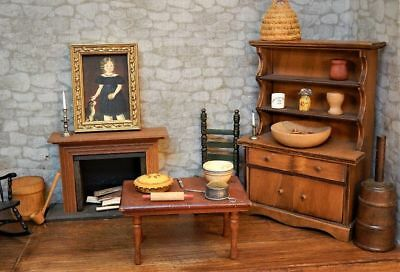 Rare Dollhouse Miniature Vintage Colonial New England Kitchen Room Lot