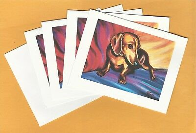 4 Dachund Blank Note Cards ~ Printed from My Original Painting