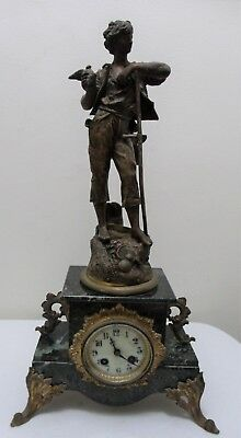 Antique French Figural Bronze / Spelter Gilded Finish Metal Marble Mantel Clock