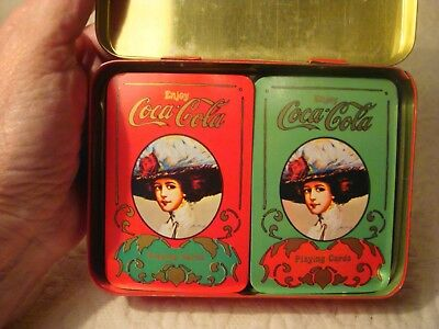 Vintage Enjoy Coca Cola Victorian Lady Tin W/Two Decks Of Playing Cards