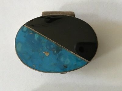 Vintage Oval Mexico  Pill box ~SILVER~TURQUOISE~ONYX - Excellent