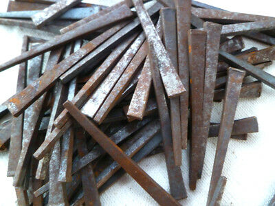 """~ NEARLY 1 lb. (75) SQUARENAILS with patina ~ VINTAGE STEEL ~ 2.5"""" long"""