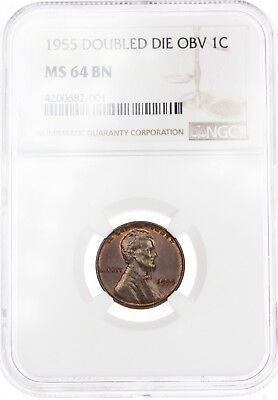 MS64 BN 1955 Double Die Obv Lincoln Cent Penny 1C GEM BU Extremely RARE