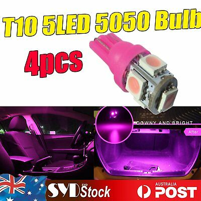 4 x Pink/Purple T10 Wedge 5LED 5050 Led Light Interior Dome Map Golve Box Lights