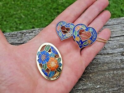 2 Vintage Cloisonne Enamel items Lot -Scarf-Dress Clip-Hair Clasp Barrette