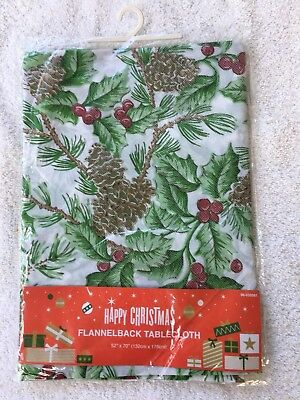 Flannelback Christmas Pinecone Tablecloth 52 x 70