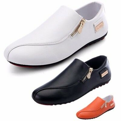 Leather Men's Casual Shoes Slip on Loafers Zip Recreational Breathable Sneakers