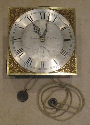 "Antique Longcase/Grandfather Clock Movement With 12"" Brass Dial"