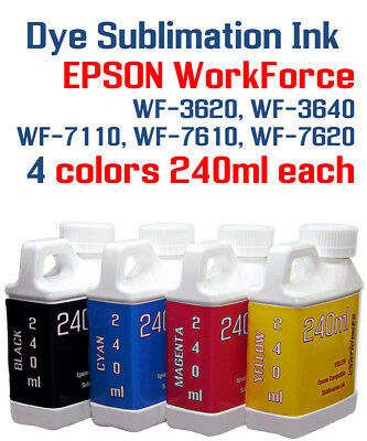 Dye Sublimation Ink 4- Multi-color 240ml bottles Epson WorkForce WF Printer