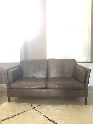 Vintage Danish Brown Leather 2 Seater Sofa Mogensen Style Midcentury