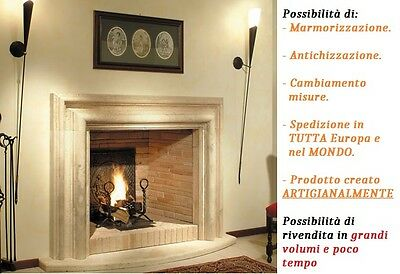 Cornice Camino Salvator Rosa in PIETRA Fireplace Stone Mantle 105x85x13cm