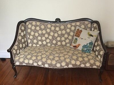 Antique vintage English Upholstered Sofa / love seat. Re webbed and upholstered