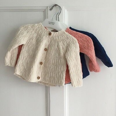 3 x Baby Girl Boy Zara Mini Cotton Cardigans 3-6 Months