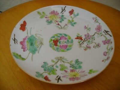 Old Chinese Hand Painted Porcelain Dish, With Kangxi Lingzhi Fungus Mark.
